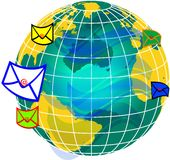 Mail and world globe2 Royalty Free Stock Photo
