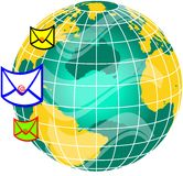 Mail and world globe3 Stock Image