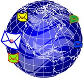 Mail and world globe4 vector illustration