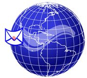 Mail and world globe5 Stock Photos