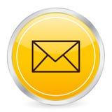 Mail yellow circle icon. Vector illustration