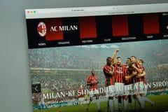 Mailand, Italien - 10. August 2017: AC Milan Websitehomepage mailand Lizenzfreies Stockfoto