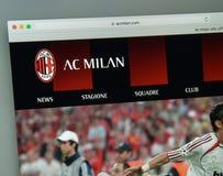 Mailand, Italien - 10. August 2017: AC Milan Websitehomepage mailand Lizenzfreie Stockfotos