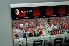 Mailand, Italien - 10. August 2017: AC Milan Websitehomepage mailand Stockbild