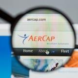 Mailand, Italien - 10. August 2017: Aer-Kappen-Holdingwebsite homepag Lizenzfreie Stockfotografie