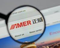 Mailand, Italien - 10. August 2017: Amer International Group-Website Lizenzfreie Stockfotografie