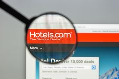 Mailand, Italien - 10. August 2017: Hotels COM-Websitehomepage Es Lizenzfreies Stockbild