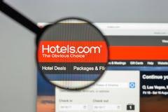 Mailand, Italien - 10. August 2017: Hotels COM-Websitehomepage Es Lizenzfreies Stockfoto