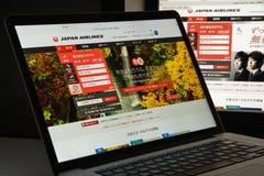 Mailand, Italien - 10. August 2017: Jal-Websitehomepage Es ist Lizenzfreies Stockfoto