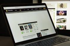 Mailand, Italien - 10. August 2017: Metacritic-Websitehomepage Es Lizenzfreies Stockbild