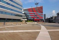 MAILAND, ITALIEN - 19. AUGUST 2017: Milan Lombardy, Italien: modernes Quadrat und Bürogebäude im neuen Portello-Bereich Stockfotografie