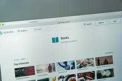 Mailand, Italien - 10. August 2017: Scribd-Websitehomepage Es ist a Lizenzfreie Stockbilder