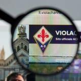 Mailand, Italien - 10. August 2017: Websitehomepage ACF Fiorentina Lizenzfreies Stockbild