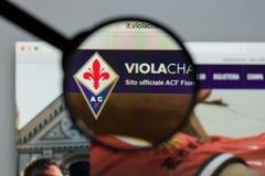 Mailand, Italien - 10. August 2017: Websitehomepage ACF Fiorentina Stockfotografie