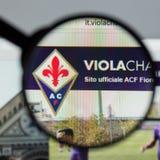 Mailand, Italien - 10. August 2017: Websitehomepage ACF Fiorentina Lizenzfreie Stockfotografie