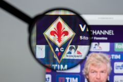Mailand, Italien - 10. August 2017: Websitehomepage ACF Fiorentina Lizenzfreies Stockfoto