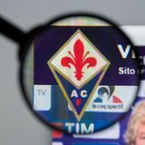 Mailand, Italien - 10. August 2017: Websitehomepage ACF Fiorentina Stockfotos