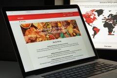 Mailand, Italien - 10. August 2017: Zomato-Websitehomepage Es ist a Stockfotografie