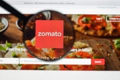 Mailand, Italien - 10. August 2017: Zomato-Websitehomepage Es ist a Lizenzfreies Stockbild