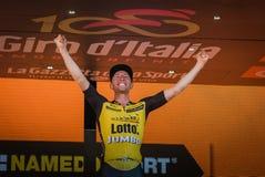 Mailand, Italien am 28. Mai 2017: Jos Van Emden, Lotto-riesiges Team, feiert seinen Sieg des Stadiums Stockfoto