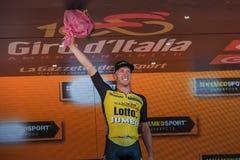 Mailand, Italien am 28. Mai 2017: Jos Van Emden, Lotto-riesiges Team, feiert seinen Sieg des Stadiums Stockfotos