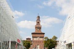 MAILAND, ITALIEN - 13. MAI: Zeichen Ausstellungs-Flugsteig 2015, am 8. Oktober 2015 ich Stockbild