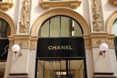 MAILAND, ITALIEN - 10. SEPTEMBER 2018: Fassade von Chanel-Speicher nach innen stockfoto