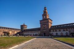 12 12 2017; Mailand, Italien - Sforza-Schlossansicht in Mailand italienisch Lizenzfreies Stockbild