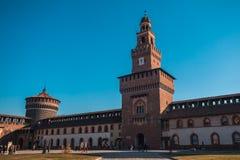 12 12 2017; Mailand, Italien - Sforza-Schlossansicht in Mailand italienisch Lizenzfreies Stockfoto