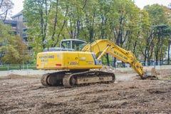 MAILAND, ITALY-OCTOBRE 18, 2015: Baumaschinen auf Baustelle der neuen U-Bahnlinie in Mailand Lizenzfreie Stockfotos