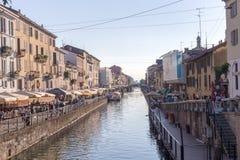 Mailand-Kanaluferreihenhausmitte Lizenzfreie Stockfotos