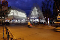 Mailand, Mailand, quadratische Ansicht des Schlosses und expogate Lizenzfreie Stockbilder