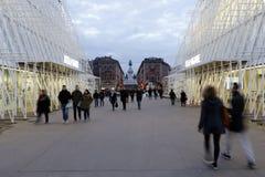 Mailand, Mailand, quadratische Ansicht des Schlosses und expogate Lizenzfreies Stockfoto