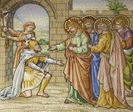 Mailand - Mosaik - bitten Sie römischen Soldaten um Jesus Lizenzfreies Stockfoto