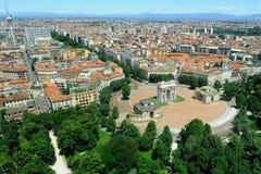 Mailand - Panorama e Arco della Schritt Stockfoto