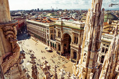 Mailand-Stadtplatzvogelperspektive lizenzfreie stockfotos