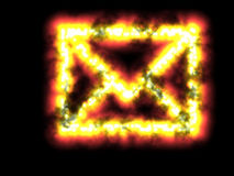 Mailbomb. Mail bomb snail mail email internet explosion fire flame attack computer pc online envelope message information traffic  mail bomb snail mail email Stock Image
