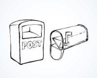 mailbox ανασκόπηση που σύρει το floral διάνυσμα χλόης διανυσματική απεικόνιση