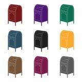 mailbox Ενιαίο εικονίδιο ταχυδρομείου και ταχυδρόμων στο μαύρο Ιστό απεικόνισης αποθεμάτων συμβόλων ύφους διανυσματικό διανυσματική απεικόνιση