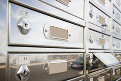 Mailbox_1. A photo of a few stainless steel mailboxes Royalty Free Stock Photo