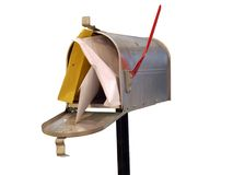 Mailbox. Classic american metal mailbox with red flag staffed with letters stock image