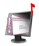 Mailbox. Digital illustration of full mailbox using a computer monitor filled with mail and a red flag raised royalty free illustration