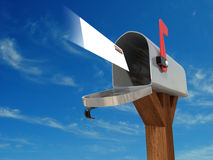 Mailbox. Very high resolution 3D rendering of an open mailbox with a letter arriving royalty free illustration