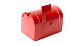 Mailbox. A red toy mailbox isolated on white royalty free stock photography