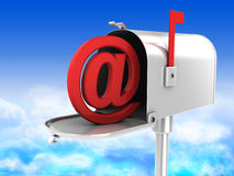 Mailbox. 3d illustration of mailbox with email symbol inside vector illustration