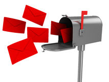 Mailbox. 3d illustration of mailbox with many letters, isolated over white background vector illustration