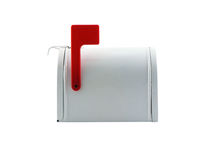 Mailbox. Photo of a mailbox with a red flag isolated on white Royalty Free Stock Images