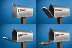 Mailbox. Four views of an opened mailbox with space for copy royalty free stock images
