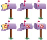 Mailbox. Cartoon illustration of mailbox in 6 versions. 3 of them are conceptual illustrations for e-mail. No transparency used. Basic (linear) gradients vector illustration