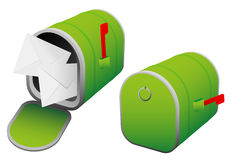 Mailbox. Illustration of Green Mailbox - Open and Closed royalty free illustration